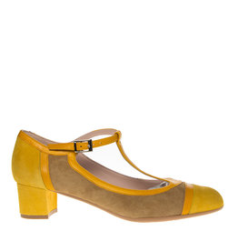 Square Feet Square Feet dames geel met camel suède pumps