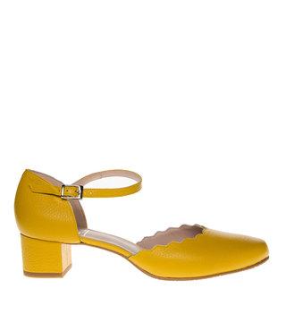 Square Feet dames geel leren pumps enkelbandje