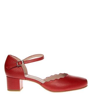 Square Feet dames rood leren pumps enkelbandje
