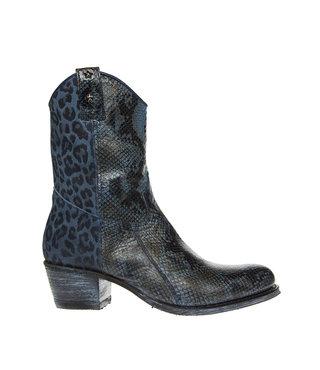 Sendra dames western slang-luipaard print blauw