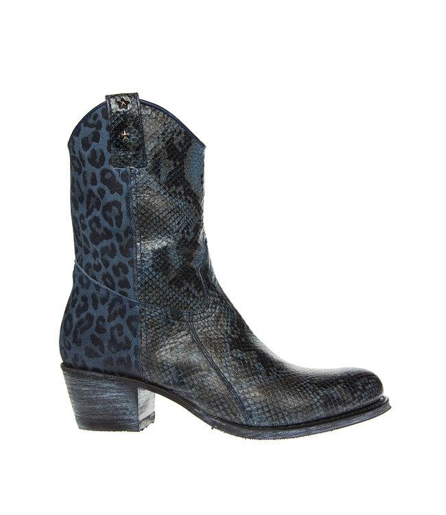Sendra Sendra dames western slang-luipaard print blauw