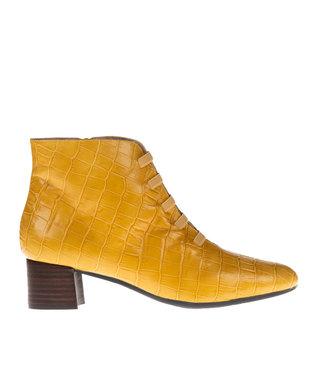Square Feet korte ritslaars elastiekjes geel croco