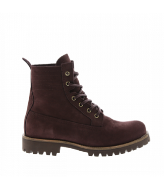 Blackstone Blackstone ladies bordo nubuck lace-up boots with fur