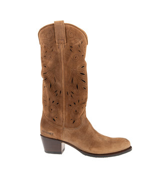 Sendra Sendra cowboy ladies boot perforations cognac