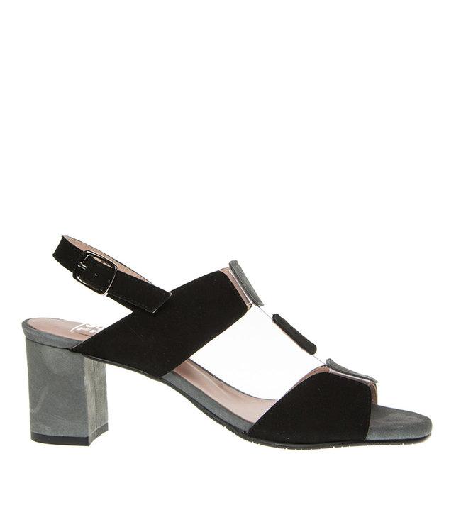 Square Feet Square Feet dames elegante sandaal zwart met grijs suède