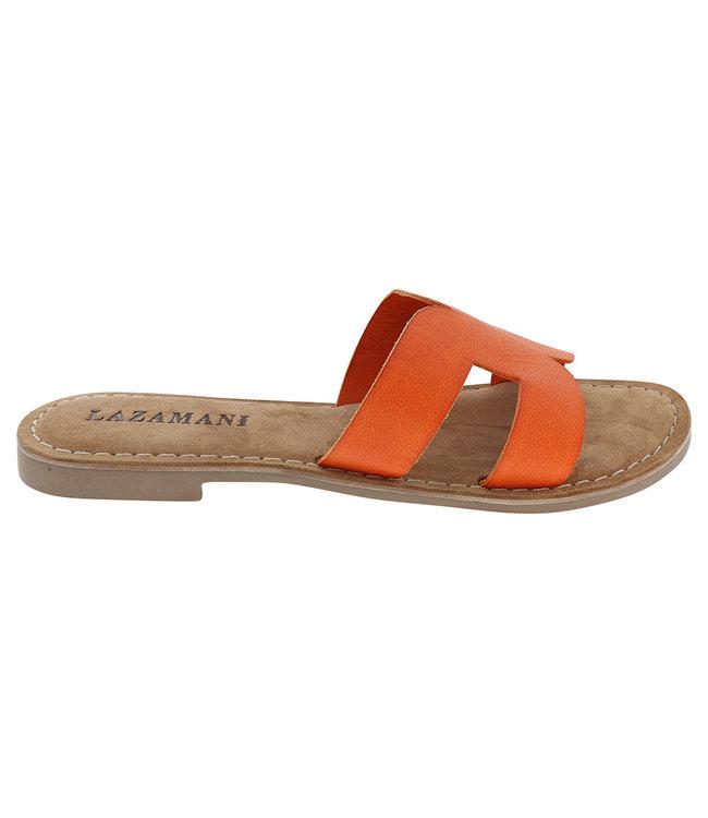 Lazamani Lazamani dames sandaal oranje leer