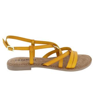 Lazamani Lazamani dames sandaal geel leer