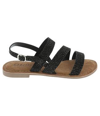 Lazamani Lazamani dames sandaal zwart met print