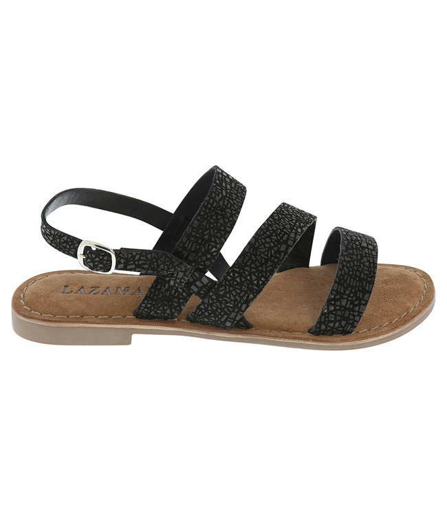 Lazamani Lazamani ladies sandal black with print