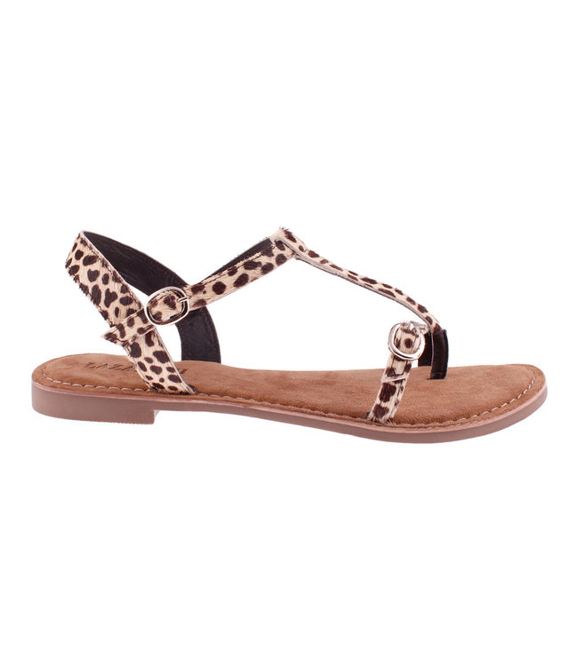 Lazamani Lazamani ladies sandal black and white print