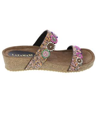 Lazamani Lazamani dames sandaal met multi kraaltjes