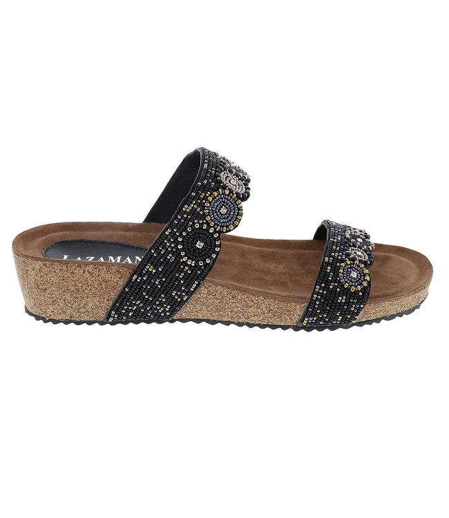 Lazamani Lazamani dames sandaal met zwarte kraaltjes