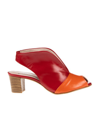 Square Feet Square Feet ladies pumps red with orange