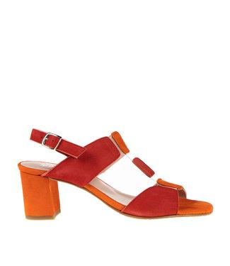 Square Feet Square Feet elegant sandal red and orange suede