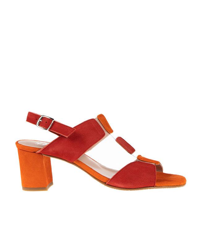 Square Feet Square Feet dames elegante sandaal rood met oranje suède