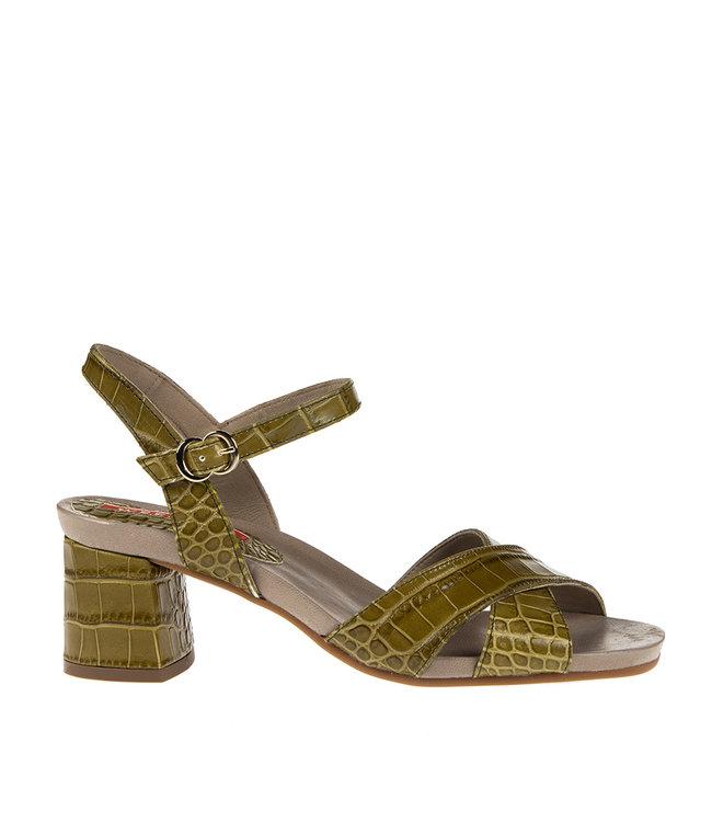 Pedro Miralles Pedro Miralles block heel sandal green crocodile print