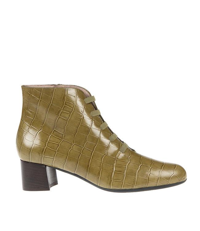 Square Feet Square Feet korte ritslaars elastiekjes groen croco