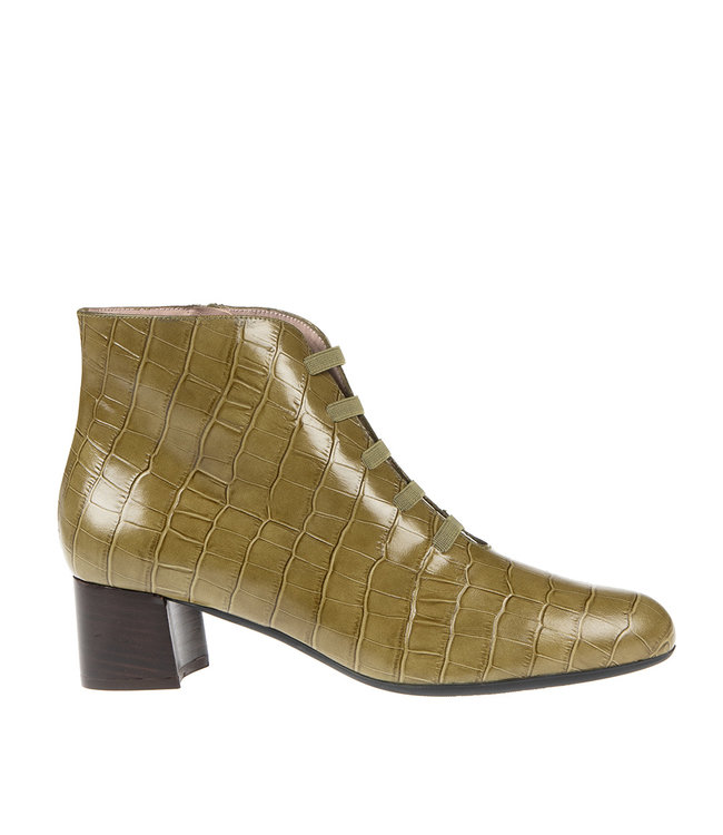 Square Feet Square Feet short zip boot bands green croco