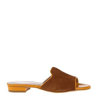 Square Feet Square Feet ladies slipper brown with orange