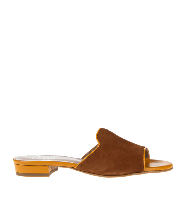 Square Feet Square Feet dames slipper bruin met oranje