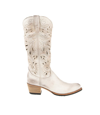 Sendra Sendra cowboy ladies boot perforations ivory