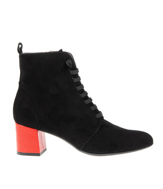 Square Feet Square Feet short lace boot black with red heel