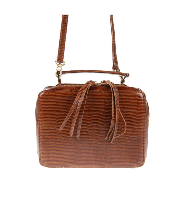 Unisa Unisa Zbele lizard brown ladies shoulder bag