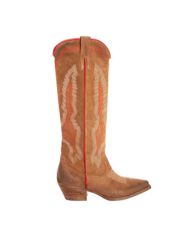 Metisse Metisse dames cowboy laarzen taupe suède