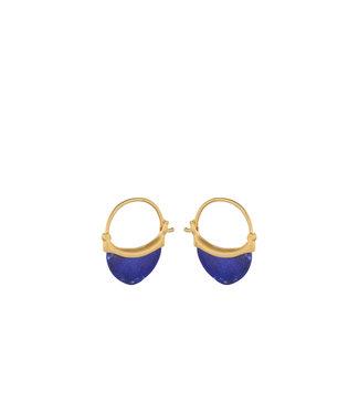 Pernille Corydon Pernille Corydon Small Lapis Lazuli oorbellen goud