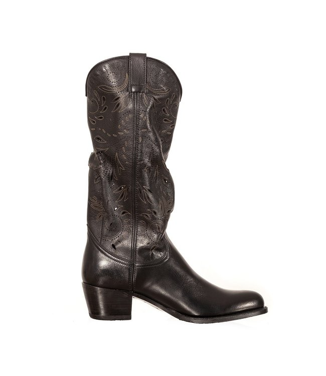 Sendra Sendra cowboy women's boot perforations black leather