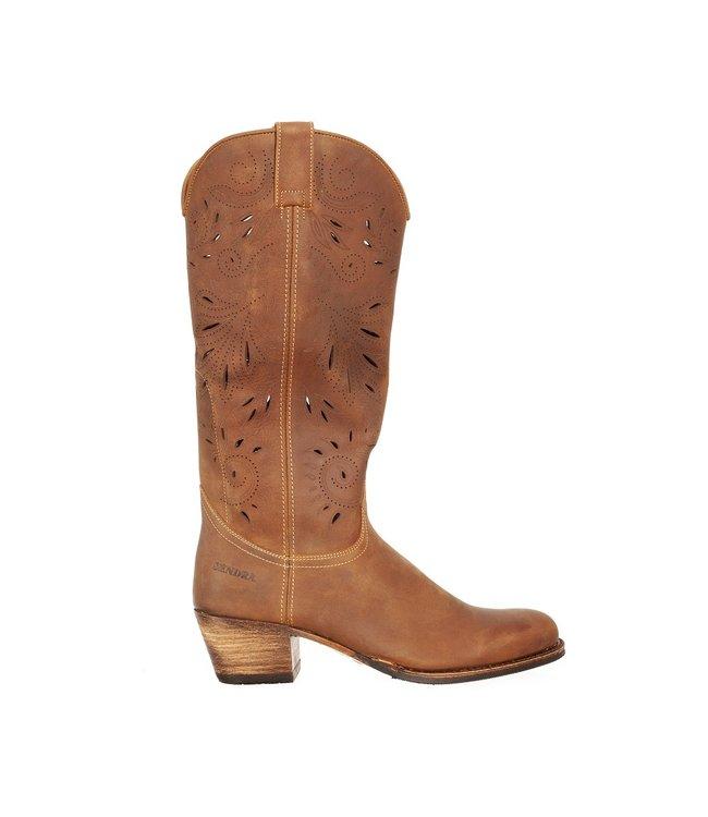 Sendra Sendra cowboy dameslaars perforaties bruin