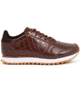Woden Woden Ydun Croco Shiny bruin dames sneakers