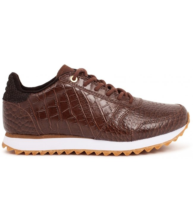 Woden Woden Ydun Croco Shiny ladies sneakers brown