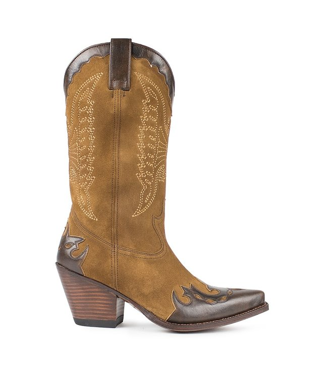 Sendra Sendra ladies western boot brown leather with suede