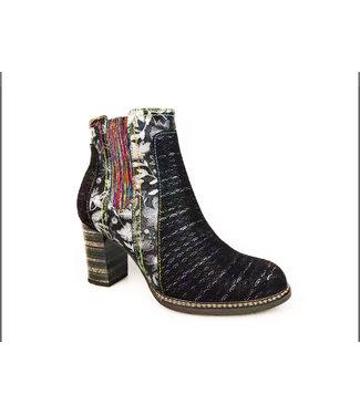Laura Vita Laura Vita short zip boot with colored elastic