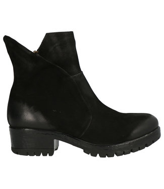 Lazamani Lazamani ladies short zipper boots black nubuck