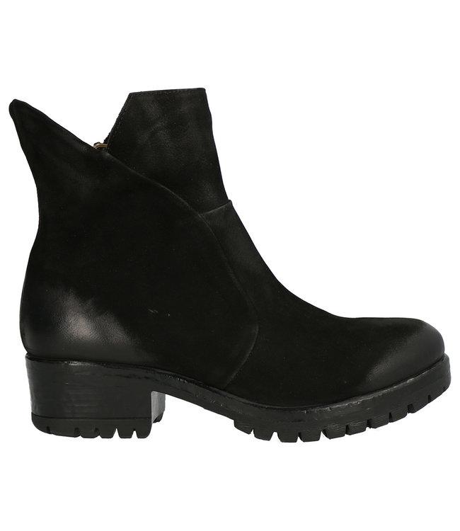 Lazamani Lazamani dames korte rits boots zwart nubuck