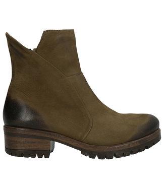 Lazamani Lazamani dames korte rits boots groen nubuck