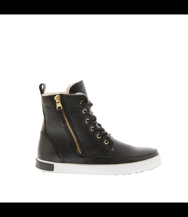 Blackstone Blackstone CW96 black leather with wool ladies sneakers