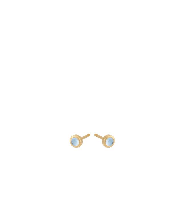 Pernille Corydon Pernille Corydon Shine Blue Topaz Earsticks goud verguld