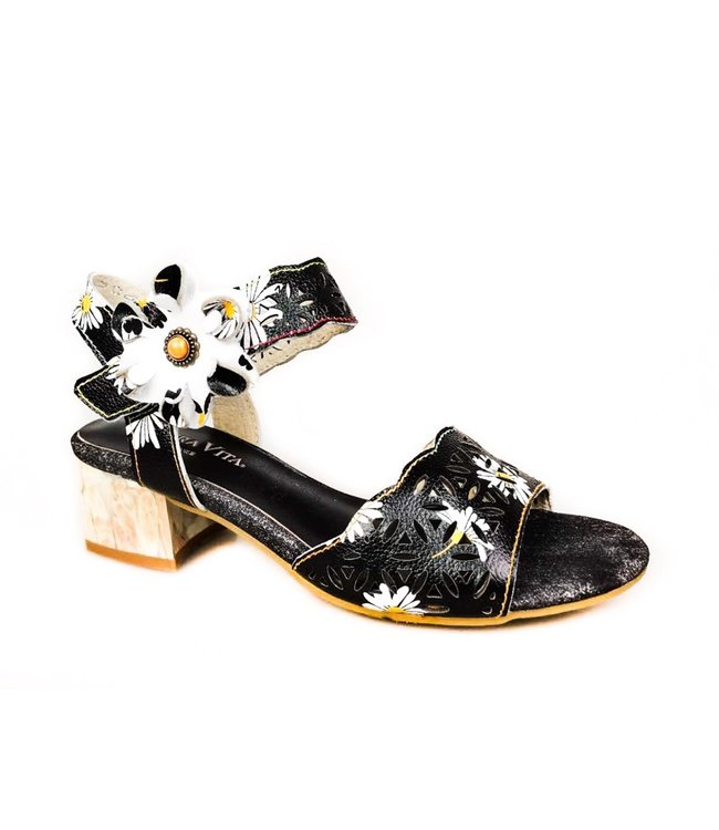 Laura Vita Laura Vita sandaal met bloemetjes zwart leer