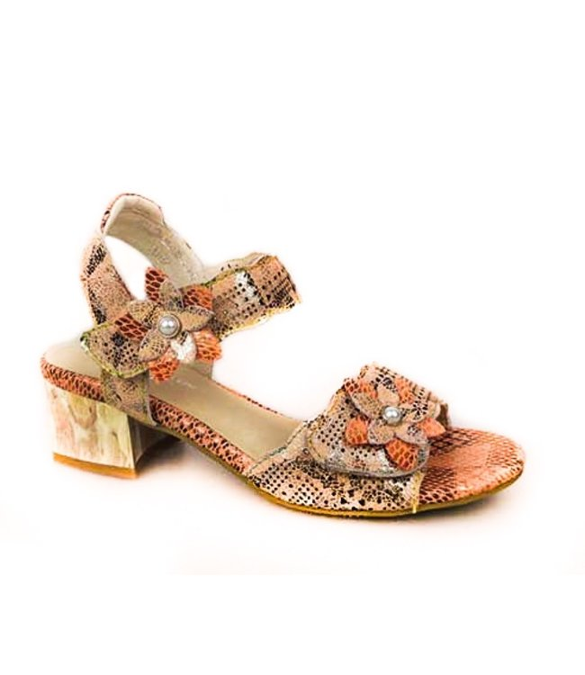 Laura Vita Laura Vita sandal with flowers patchwork leather