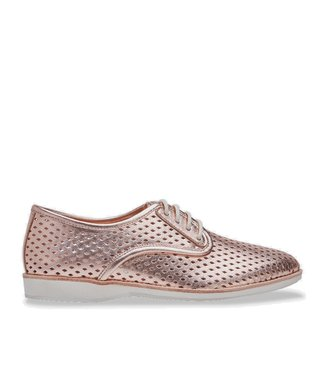 Rollie Rollie Derby Punch rose gold ladies lace-up shoe