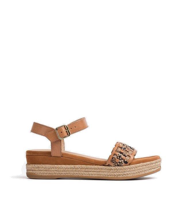 Unisa Unisa Gatika sandaal met plateau bruin leer