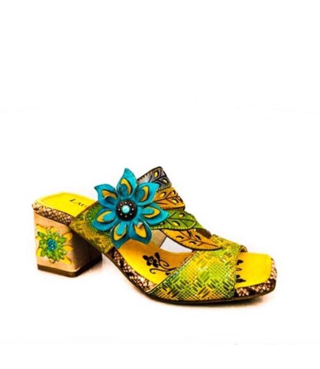 Laura Vita Laura Vita slipper met bloemetjes geel leer