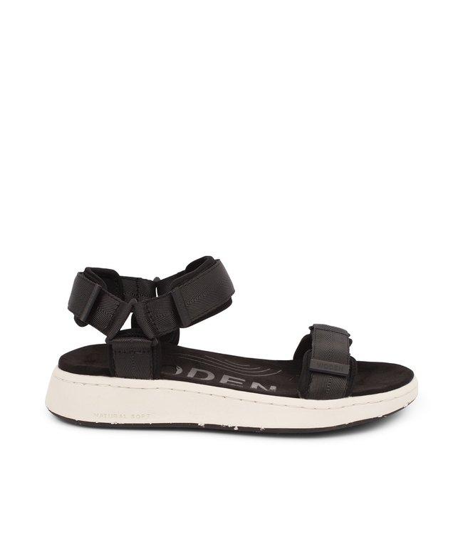 Woden Woden Line zwart textiel dames sandaal