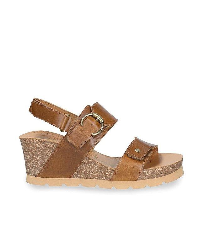Panama Jack Panama Jack Velvet wedge sandal brown leather
