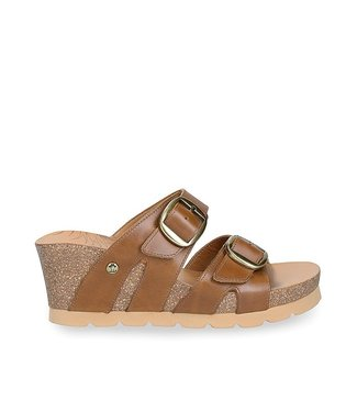 Panama Jack Panama Jack Valentina wedge slipper brown leather