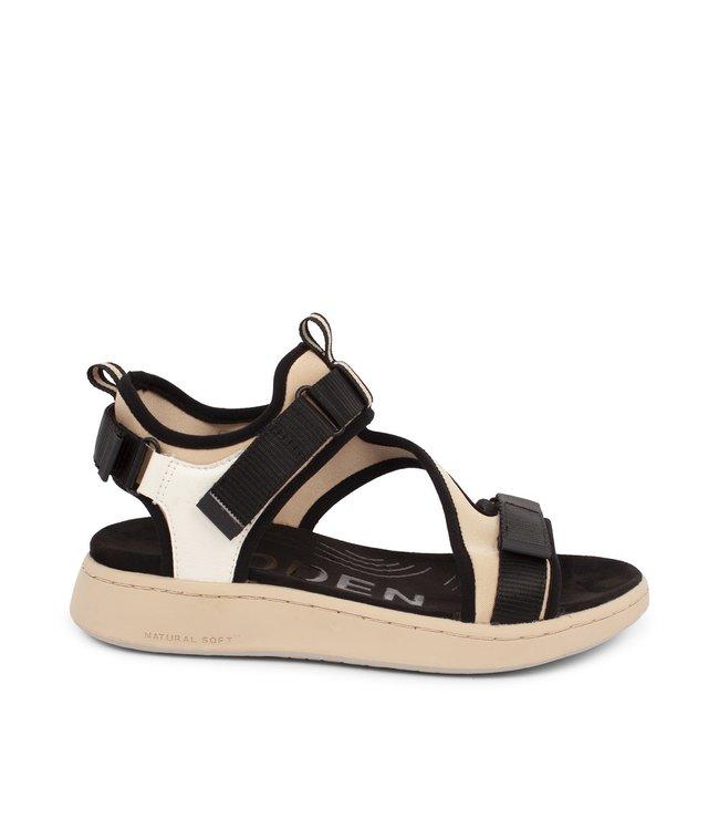 Woden Woden Emilie klittenband sandaal beige