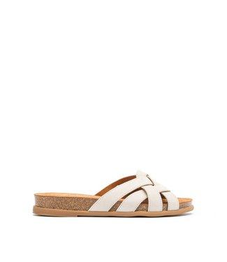 Unisa Unisa Cabru Blu slipper met kurk voetbed beige